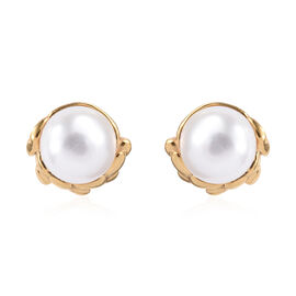 Freshwater Pearl (Rnd) Stud Earrings (with Push Back) in 14K Gold Overlay Sterling Silver