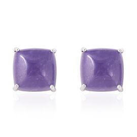 Purple Jade (Cush) Stud Earrings in Yellow Gold Overlay Sterling Silver 17.36 Ct.
