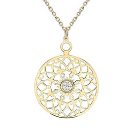 Hatton Garden Close Out 9K Yellow Gold Cubic Zirconia Cutout Disc Pendant with Chain (Size 16 with 2