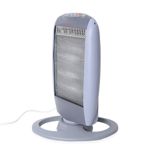 Winter Clearance Deal - Grey and White Colour Electronic Fan Heater with Wide Angle Radiant Electric Heat Reflectors (Size 50.5x28.5x9 Cm)