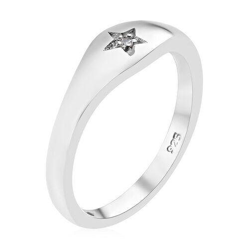 Diamond (Rnd) Star Ring in Platinum Overlay Sterling Silver