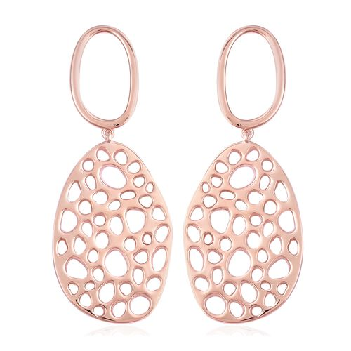 RACHEL GALLEY Rose Gold Overlay Sterling Silver Lattice Earrings (with Push Back), Silver wt 16.52 G