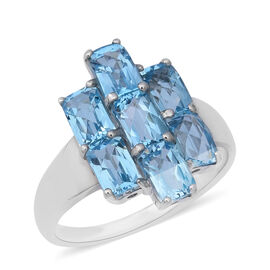 5.88 Ct Swiss Blue Topaz Cluster Ring in Rhodium Plated Sterling Silver