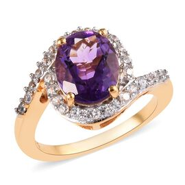 3 Carat Moroccan Amethyst and Zircon Swirl Halo Ring in Gold Plated Sterling Silver