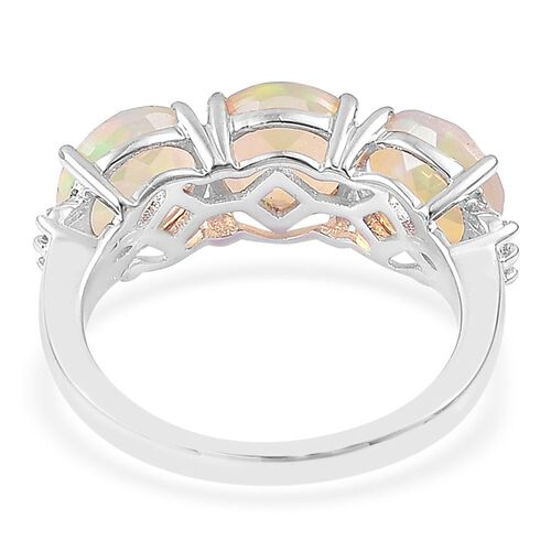 ILIANA 18K White Gold AAA Ethiopian Welo Opal (Rnd), Diamond (SI/G-H) Ring 2.500 Ct.