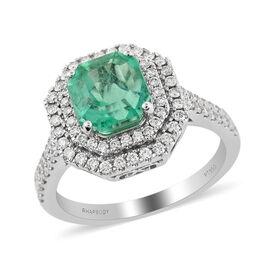 RHAPSODY 950 Platinum AAAA Boyaca Colombian Emerald and Diamond (VS/E-F) Ring 3.00 Ct, Platinum wt.