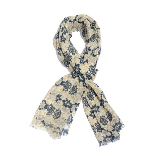 100% Merino Wool Blue, Light Brown and Off White Colour Floral Pattern Scarf with Fringes (SIze 170X