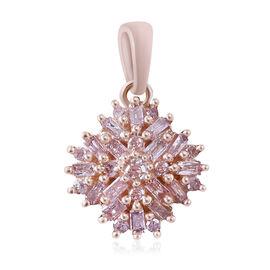 9K Rose Gold Natural Pink Diamond (Rnd and Bgt) Cluster Pendant 0.25 Ct.