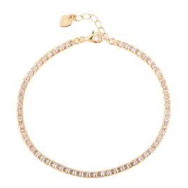 ELANZA AAA Simulated Diamond (Princess Cut) Bracelet (Size 7.25 with 1 inch Extender) in Yellow Gold