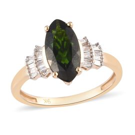 9K Yellow Gold  Russian Diopside, White Diamond Ring in Rhodium Overlay 0.43 ct,  Gold Wt. 2.2 Gms
