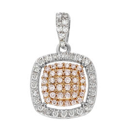 9K Yellow and White Gold Natural Pink Diamond and White Diamond (I3) Pendant 0.30 Ct.