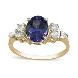 1.42 Ct Tanzanite and Diamond Solitaire Ring in 9K Yellow Gold I3 GH