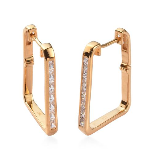 J Francis - 14K Yellow Gold Overlay Sterling Silver Square Hoop Earrings (with Clasp) Made with SWAR
