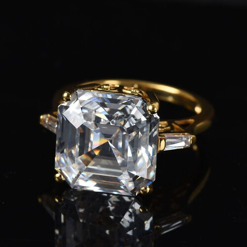J Francis - 14K Gold Overlay Sterling Silver Ring Made with SWAROVSKI ZIRCONIA 16.06 Ct