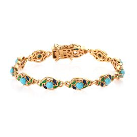 Sleeping Beauty Turquoise Line Bracelet 1 Row in 14K Gold Overlay Sterling Silver 3.50 ct,  Sliver W