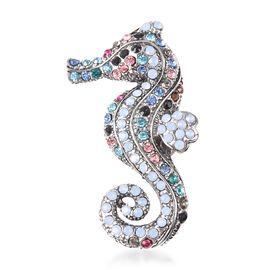 Multicolour Austrian Crystal Seahorse Design Brooch in Silver Plated