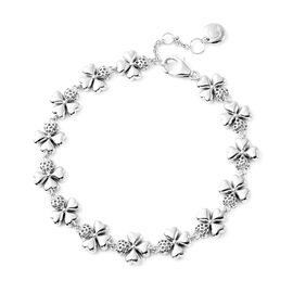 RACHEL GALLEY Four-Leaf Clover Inspired Bracelet (Size 8) in Rhodium Overlay Sterling Silver