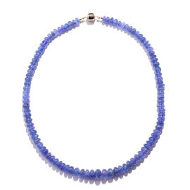 Extremely Rare Premium Colour 220 Ct Tanzanite Beaded Necklace in 14K Gold 18 Inch