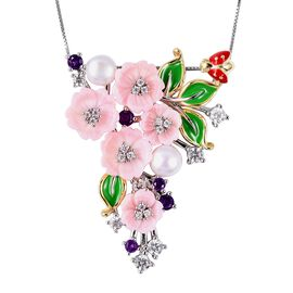 Jardin Collection - Pink Mother of Pearl, Freshwater Pearl, Amethyst and Natural White Cambodian Zir