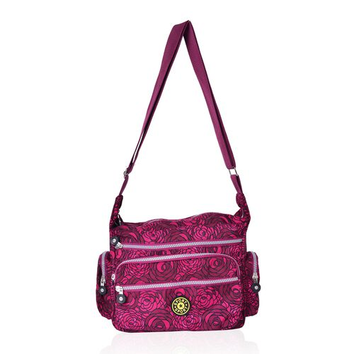 Dark Fuchsia Colour Floral Pattern Multi Pocket Waterproof Sport Bag with Adjustable Shoulder Strap (Size 27X23X10.5 Cm)