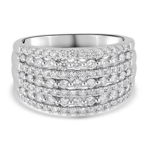 1 Carat Diamond Cluster Ring in 14K White Gold VS SI GH