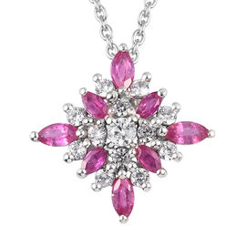 African Ruby and Natural Cambodian Zircon Snowflake Pendant with Chain (Size 18) in Platinum Over St
