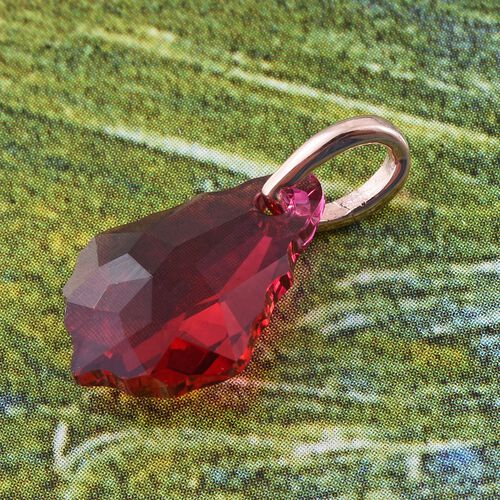 J Francis Crystal from Swarovski - Ruby Colour Crystal Pendant in Rose Gold Overlay Sterling Silver