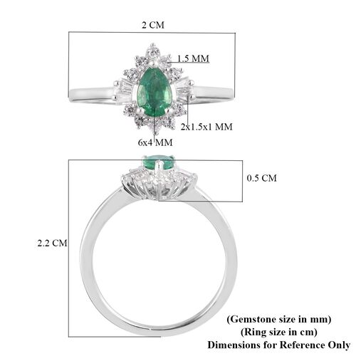 AA Kagem Zambian Emerald and Natural Cambodian Zircon Ring in Platinum Overlay Sterling Silver 1.00 Ct.