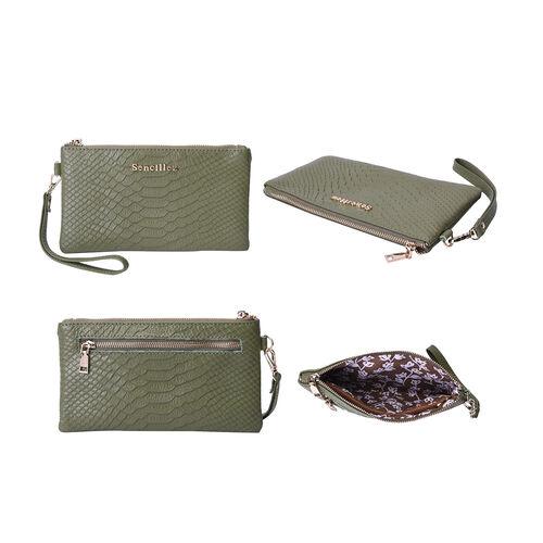 SENCILLEZ Genuine Leather RFID Protected Snake Skin Embossed Wristlet (19x11cm) - Olive Green