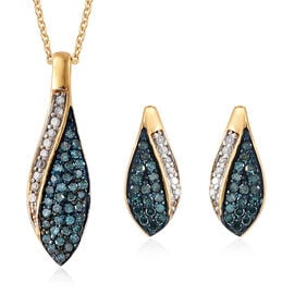 Set of 2 Blue and White Diamond (Rnd) Earrings (with Push Back) and Pendant with Chain (Size 20) in 14K Gold Overlay Sterling Silver 0.500 Ct.