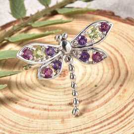 LucyQ Dragonfly Collection - Rhodolite Garnet, Natural Hebei Peridot & Amethyst Ring in Rhodium Overlay Sterling Silver
