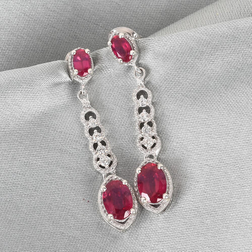 African Ruby and Natural Cambodian Zircon Dangle Earrings (with Push Back) in Platinum Overlay Sterling Silver 3.00 Ct.