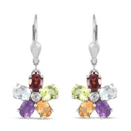 Mozambique Garnet, Skyblue Topaz,  Peridot and Multi Gemstones Flower Earrings in Platinum Overlay S