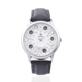 STRADA Japanese Movement Water Resistant White and Grey Colour Austrian Crystal Studded Watch with G