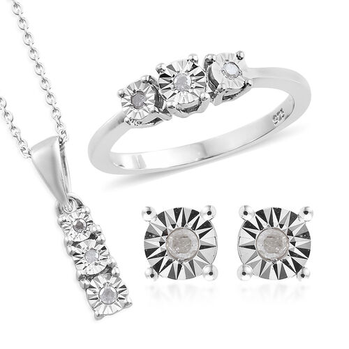 Set of 3 Diamond (Rnd) Ring, Earrings (with Push Back) and Pendant With Chain (Size 20) in Platinum Overlay Sterling Silver 0.100 Ct.