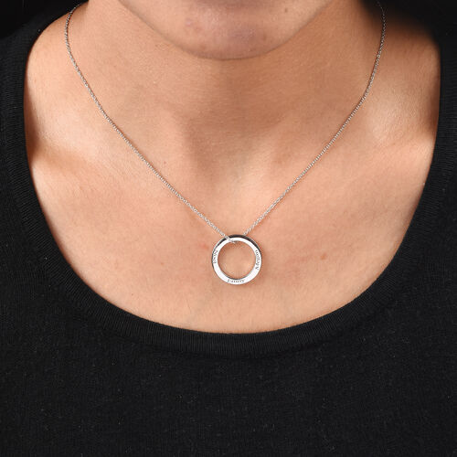 Personalise Engraved Circle Necklace in Silver
