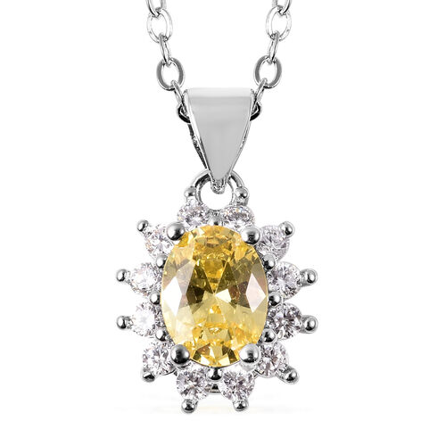 3 Piece Set - Simulated Citrine and Simulated Diamond Sunburst Theme Ring, Stud Earrings (with Push Back) and Pendant with Chain (Size 20 with 2 inch Extender) in Silver Tone