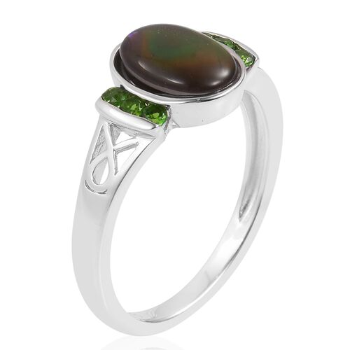 Canadian Ammolite (Ovl 9x7mm), Russian Diopside Ring in Rhodium Plated Sterling Silver 1.800 Ct.