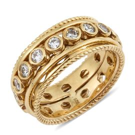 J Francis - 14K Gold Overlay Sterling Silver (Rnd) Spinner Ring Made with SWAROVSKI ZIRCONIA, Silver wt 8.77 Gms.