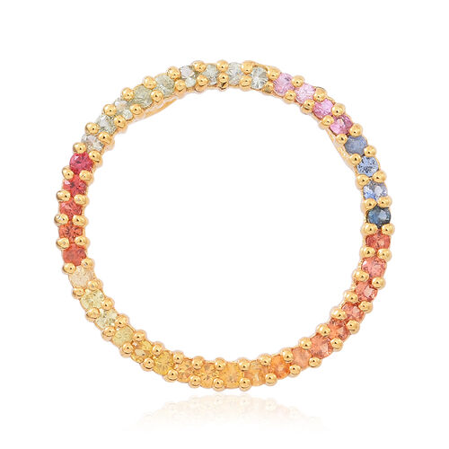 Rainbow Sapphire (Rnd) Circle of Life Pendant in 14K Gold Overlay Sterling Silver 2.000 Ct.