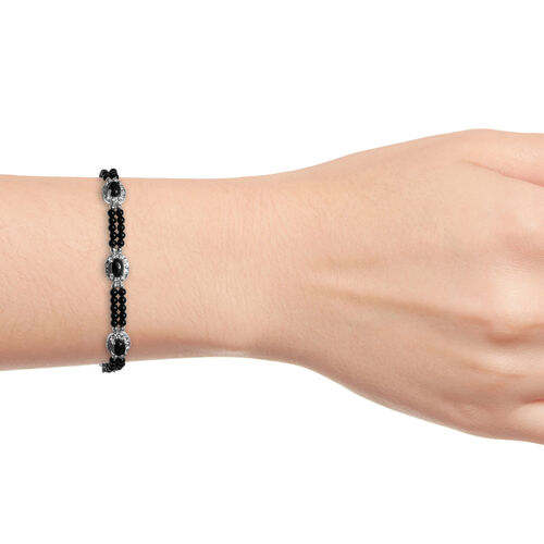 Boi Ploi Black Spinel (Ovl 7x5 mm), Black Beads Bracelet (Size 7.50 with 1.5 inch Extender) in Sterling Silver 22.000 Ct., Silver wt 5.00 Gms.