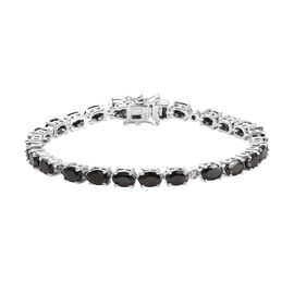Elite Shungite (7.00 Ct) and Diamond Platinum Overlay Sterling Silver Bracelet (Size 7)  7.05 Ct.
