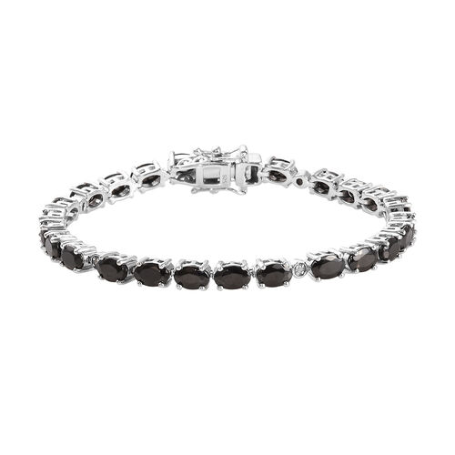 7.05 Ct Shungite and Diamond Tennis Bracelet in Platinum Plated Sterling Silver 10.83 Grams 7 Inch