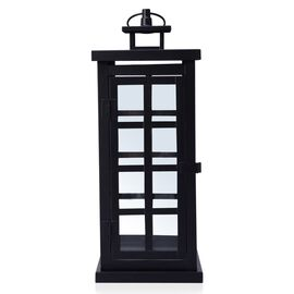 (Option 1) Square Grid Design Black Colour Cage Lantern (Size 34x12 Cm)