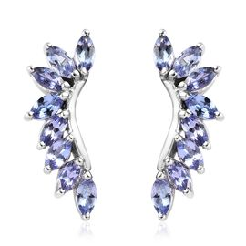 2.25 Ct Tanzanite Designer Earrings in Platinum Plated Sterling Silver