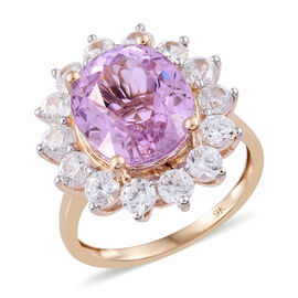 9K Yellow Gold Kunzite (Ovl 6.65 Ct), Natural Cambodian Zircon Ring 9.000 Ct.