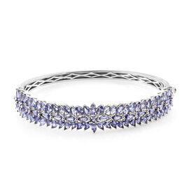 10.5 Ct Tanzanite Cluster Bangle in Platinum Plated Sterling Silver 24.34 Grams