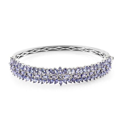 Tanzanite (Rnd) Bangle (Size 7.5) in Platinum Overlay Sterling Silver   10.500 Ct, Silver wt 10.50 Gms.