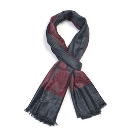 100% Modal Melange Cutwork Black and Red Colour Woven Scarf (Size 180x70 Cm)