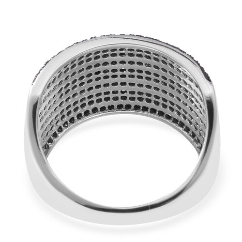 Boi Ploi Black Spinel (Rnd) Cluster Band Ring in Rhodium Overlay Sterling Silver 2.480 Ct, Silver wt 5.70 Gms, Number of Gemstone 248
